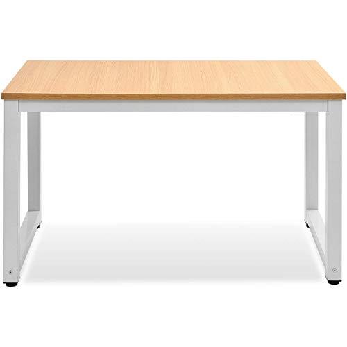 Merax PC Tisch Computertisch Schreibtische Bürotisch Arbeitstisch Officetisch PC-Tisch Esstisch für Zuhause Büro Schlafzimmer Rleichterte Montage, Eiche Farbe (Eiche-Weiß)