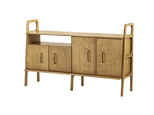 Plywood Project, Mid century sideboard, Scandinavian console, 1 cabinet + 1 cabinet with open shelf, 690 VI, Baltic birch plywood, 90 cm tall, Custom, Oak Wood Color