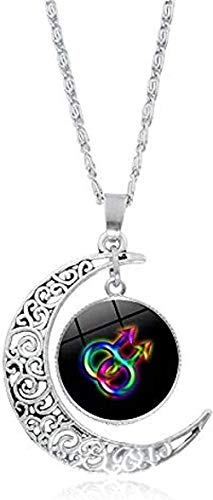 ZPPYMXGZ Co.,ltd Necklace Men Necklace Gay Pride Rainbow Flag P O Glass Cabochon Necklace Silver Crescent Pendant Statement Necklace Women Lover Gifts