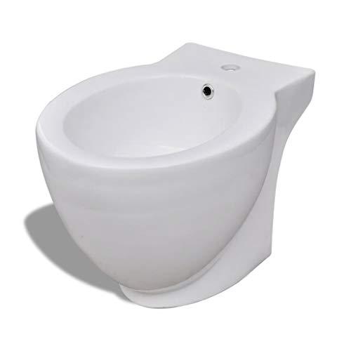 vidaXL Bidet Rond à Poser Céramique Sanitaire Blanc Toilette Cuvette Siège WC