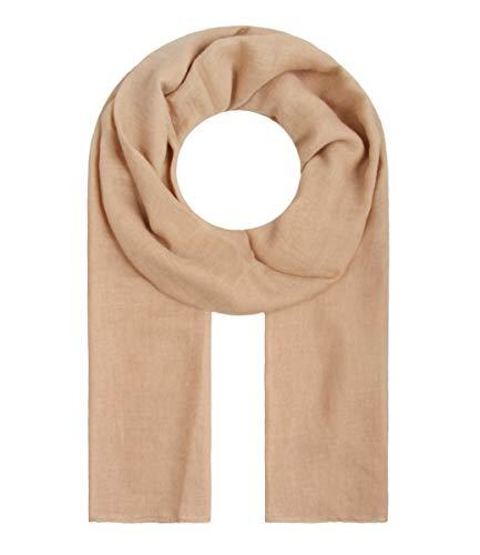 Majea Tuch Lima schmal geschnittenes Damen-Halstuch leicht uni einfarbig dünn unifarben Schal weich Sommerschal Übergangsschal (camel)