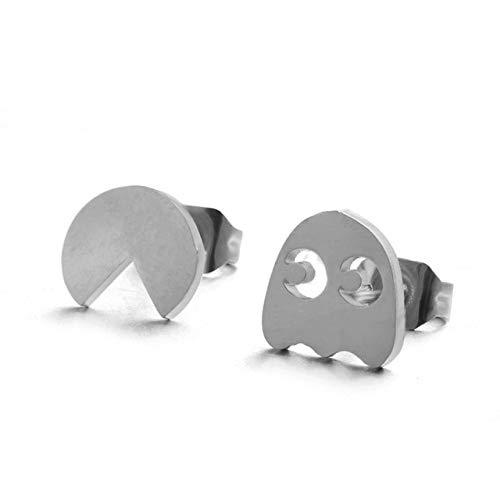 ESIVEL Juego clásico Pac-Man Stud Earrings Fashion Mini Golden Silver Color Acero Inoxidable Ear Studs Charm Jewelry Gifts para Mujer Chica E021125D