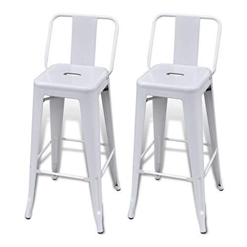 vidaXL Juego de 2 taburetes altos con respaldo blanco