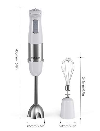 Homgeek 1000W 2-in-1 HAT-9630B Hand Blender with Whisk,Stick Blender with 6 Adjustable Speeds and Turbo Function,White