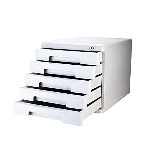 BXYXJ Cajonera De Almacenamiento De 5 Capas, Pequeño Gabinete De Archivo Vertical con Cerradura, Caja De Almacenamiento De Oficina A4, Plástico (Color : Gray)