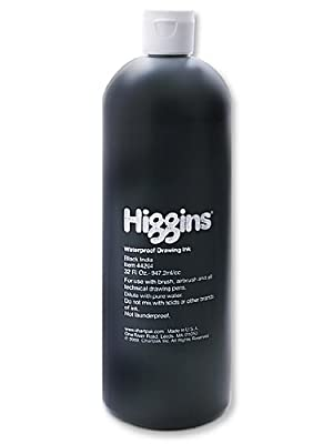 Higgins 44204 Waterproof India Ink for Art/Technical Pens, Black, 32 oz Bottle (HIG44204)