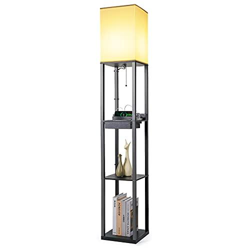 Tomons Lámpara de pie de madera, dos puertos de carga USB, con 3 de estantes 1 cajón, E27, 1.6M Altezza, para la sala de estar, el dormitorio, la oficina y el estudio