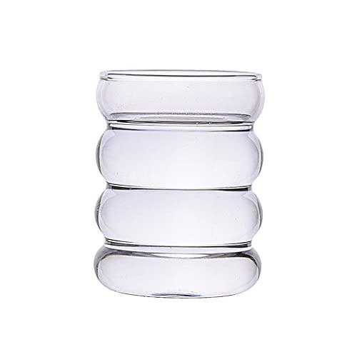 MagiDeal Jarrones de Flores Creativa Botella de Agua Forma de Onda Taza de Vidrio Resistente al Calor Cerveza Taza de té Jugo de café Leche té hogar café - Transparente
