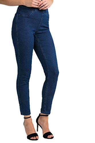 Joseph Ribkoff Blue Reversible Denim Pants with Flower Print Style 201105 - Spring 2020 Collection (16)