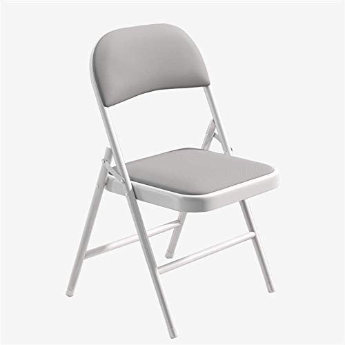 HFJKD Padded Fabric White Folding Chairs Strong Steel Frame Fold Up Chair, Comfy Cushioned Seat, Foldable Easy Store Away for The Outdoors and Indoors