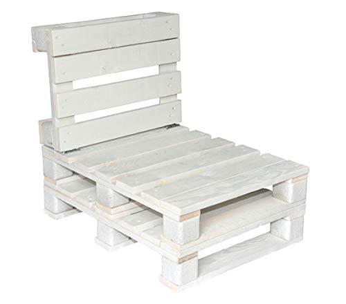 clc Divanetto 1 Posto in Pallet EPAL da Esterno e Giardino -Made in Italy- Bianco, 60x80x74