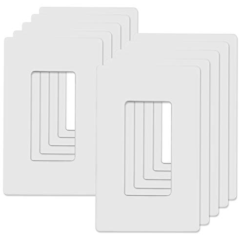 ABBOTECH 1-Gang Screwless Decorator Wall Plates, Child Safe Standard Size Outlet Cover, Unbreakable Polycarbonate Thermoplastic, White, 10 Pack
