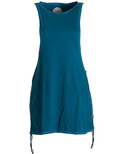 Vishes - Alternative Bekleidung - Legeres Lagen Sommerkleid Tunika mit weitem Armausschnitt und seitlichem Tunnelzug zum Verkürzen auf Shirtlänge türkis 42