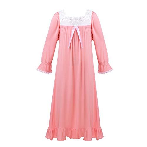 iixpin Mädchen Nachthemd Langarm/Kurzarm Kleid Baumwolle Pjyama Sleepshirt Nightdress Kinder Retro Nachtwäsche Schlafanzug Pink_Langarm 110-116/5-6 Jahre