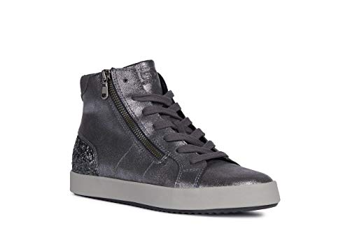 Geox Damen Blomiee 14 Glitter & Metallic High Top Sneaker with Zip, Black, 40 EU/10 M US Turnschuh, Schwarzer Charc1, EU