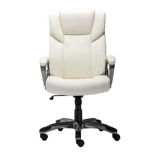 Amazon Basics High-Back Bonded Leather Executive Office Computer Desk Chair - Cream