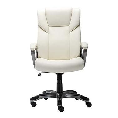 Amazon Basics High-Back Bonded Leather Executive Office Computer Desk Chair – Cream