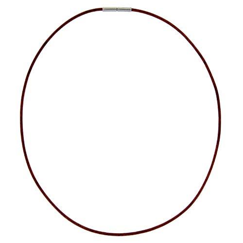 AURORIS Echtleder Kette 2 mm Farbe: antikbraun, mit Tunnel-Drehverschluss aus Edelstahl, Länge wählbar / 60 cm