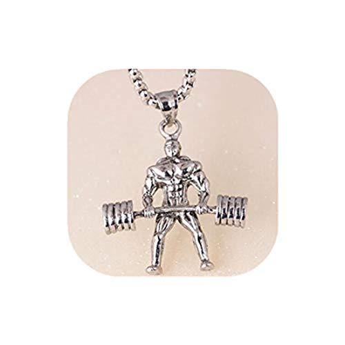 yichahu Colgante de levantamiento de pesas para hombre, collar con mancuerna, accesorios...