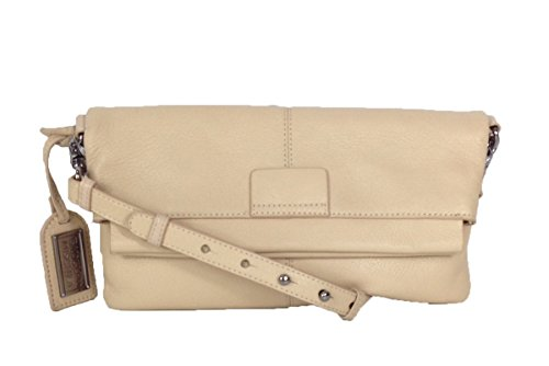 Badgley Mischka Helene Leather Fold Over Crossbody, Latte
