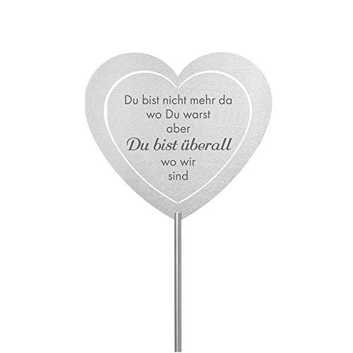 Fritz Cox® - Grabstecker: Edelstahl Herz 'Du bist nicht mehr da'; Grabschmuck, in Liebe für einen geliebte Menschen; eine wetterfeste Erinnerung aus Edelstahl - ideal auch für ein Urnen-Grab