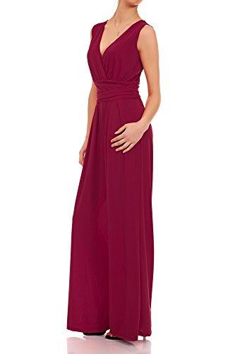 Laeticia Dreams Eleganter Damen Overall Jumpsuit V Ausschnitt S M L XL, Farbe:Weinrot, Größe:42 XL
