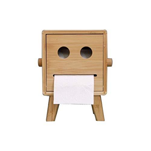 HYAN El Tejido de bambú de Madera Caja del sostenedor de la Caja del Tejido Sonriente de la Cara del Papel del Rollo Permanente del Ministerio del Interior Especial de Almacenamiento