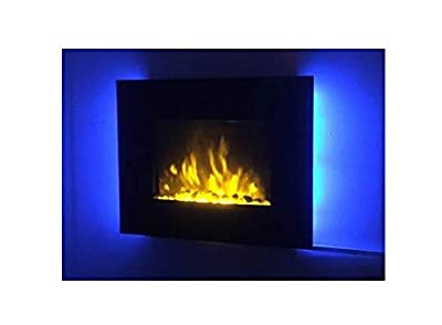 TruFlame 2020 7 COLOUR CHANGING LED WALL MOUNTED ELECTRIC FIRE FLAT GLASS