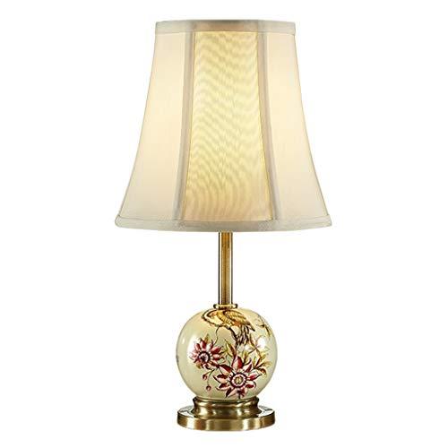 Lámparas de noche Sencilla lámpara de mesa de cerámica creativa Dormitorio Lámpara de cabecera Sala de estar Estudio Lámpara de mesa Tres modos de interruptor Lámpara de mesa de noche (Color : A)