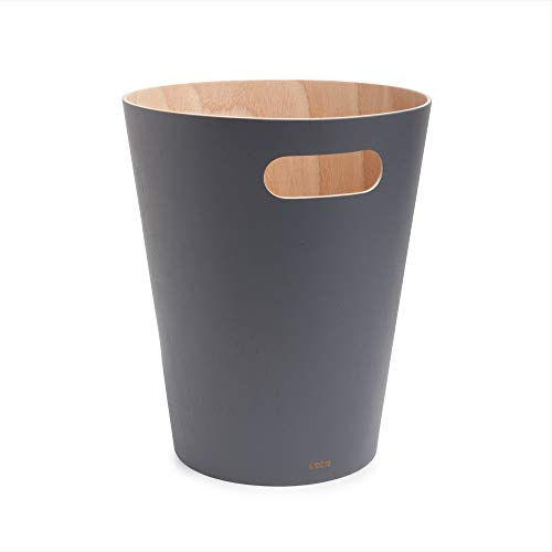 Umbra Woodrow 2 Gallon Modern Wooden Trash Can Wastebasket or Recycling Bin for Home or Office, Charcoal