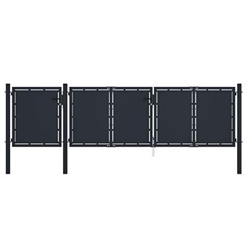 vidaXL Puerta de Jardín Panel Cancel Valla Verja Patio Entrada Exterior Cerca Cerradura Robusta Estable Duradera Metal Gris Antracita 4x1,25 m