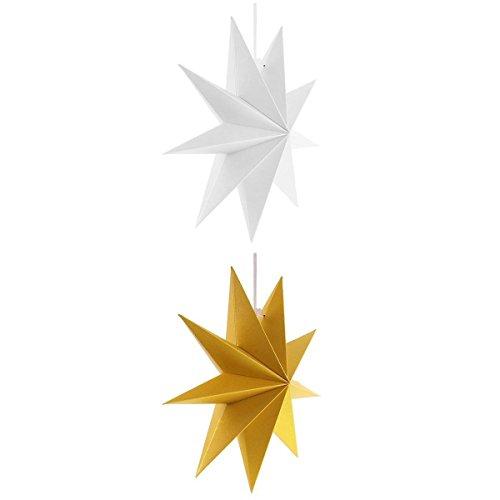 Sharplace Faltsterne, 30 cm 9 Zacken Weihnachtsstern Papiersterne Setfür Weihnachtsbaum Christmasbaum - Gelb weiß, 2 Stück