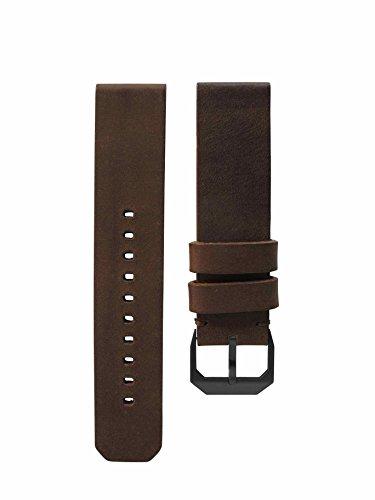 slow - Dark Brown Vintage Leather Strap, Black Buckle