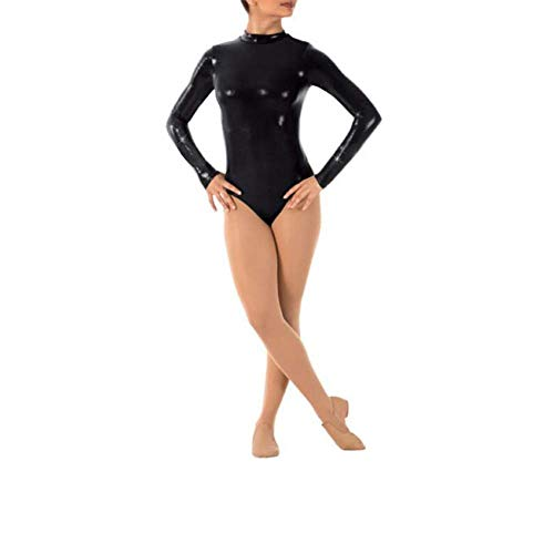 IWEMEK Damen Ballettanzug Glänzende Langarm Body Wetlook Danz Ballett Trikot Gymnastikanzug Turnanzug Metallic Einteiler Lack Leder Bodysuit Overall Leotard Top Kostüme Schwarz 2XL