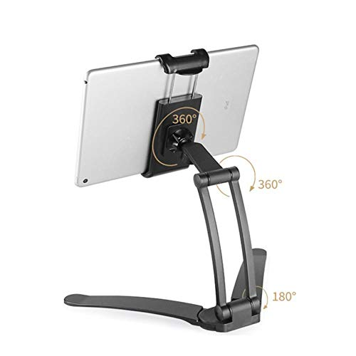 2-In-1 Multifunction Adjustable Tablet Mount Stand Kitchen Fold Wall Mount Desktop Phone Holder Tripod With Fixed Pad For Ipad,Black,China