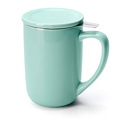 Sweese 203.109 Ceramic Tea Mug with Infuser and Lid, Single Cup Loose Tea Brewing System, Draw Your Own Design, 16 OZ, Mint Green