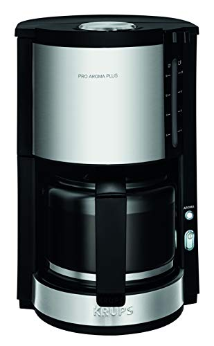 Krups KM321 Proaroma Plus Glass Coffee Maker, 10 Cups, 1100 W, Modern Design, Black with Stainless Steel Appliques