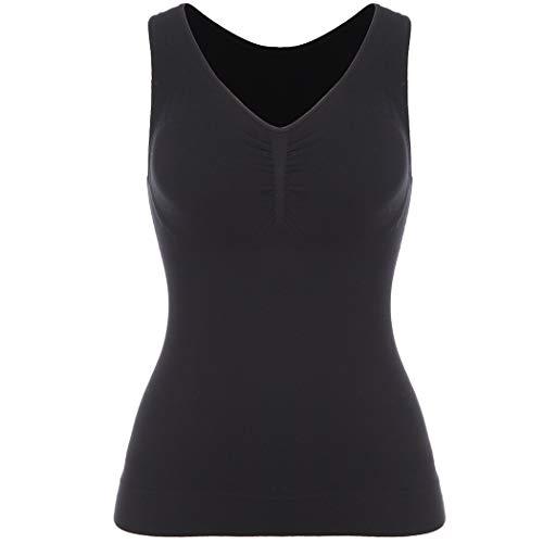 Joyshaper Camiseta interior para mujer, sin costuras, moldeadora de figura, forma cómoda, moldeadora de la figura, camiseta de tirantes Negro M