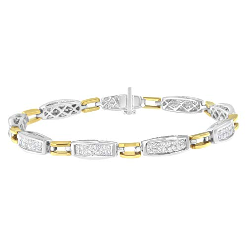 14K Yellow and White Gold 2.0 Cttw Princess Cut Diamond Tapered and Equal Sign Link Bracelet (G-H Color, SI1-SI2 Clarity) - 7'