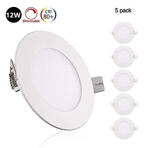 5er Greenclick 12w LED rund Panel Weiß Deckenleuchte Dimmbar Einbaustrahler, extrem flach,220V 720Lumen ersetzt 100W Leuchtstoffröhren LED Deckenleuc (4000k, 12w Rund Panel)