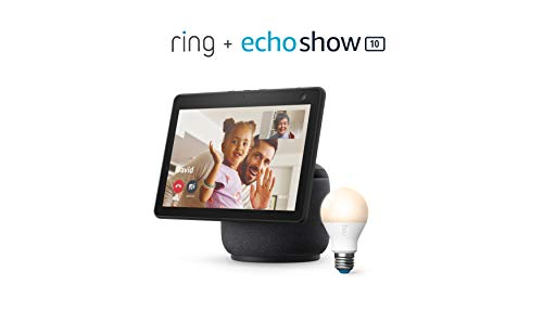 Ring A19 Smart LED Bulb, White, bundle with All-new Echo Show 10 (3rd Gen) - Charcoal