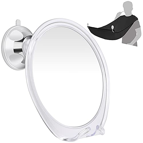Onemango Espejo de ducha, espejo de afeitar sin niebla, con gancho de afeitar, 360° giratorio succión portátil espejo de maquillaje, con babero para barba