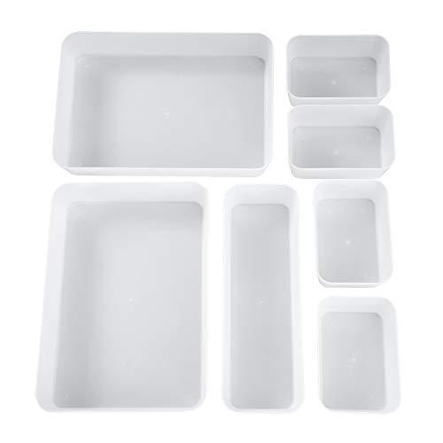 Plateaux de Rangement pour Tiroir, Transparent Cosmétiques Diviseur Organisateur en Plastique avec Boîtes 3 Tailles pour Bureau, Coiffeuse, Salle de Bain, la Cuisine (Lot de 7)