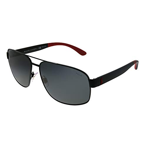 Polo Ralph Lauren PH 3112 903887 Matte Black Metal Aviator Sunglasses Grey Lens