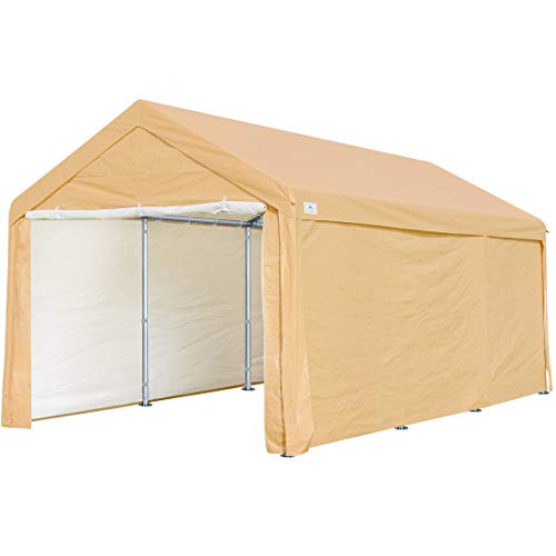 ADVANCE OUTDOOR 10x20 ft Heavy Duty Carport Car Canopy Garage Shelter Boat Party Tent Shed with Removable Sidewalls and Doors, Beige