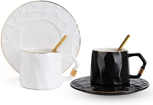 SOPRETY Ceramic Coffee Mug with Spoon and Saucer 2pcs 7oz Porcelain Couple Tea Cup Mr and Mrs product image