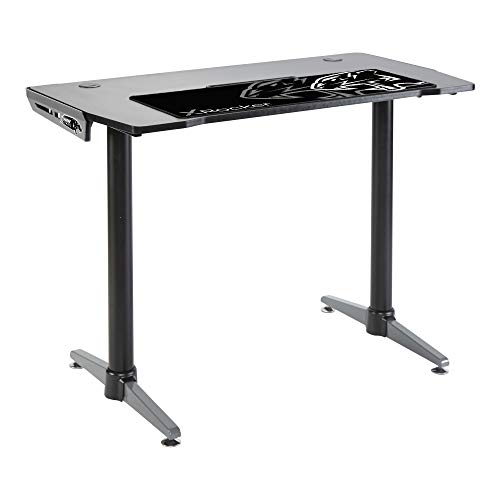 X Rocker Panther Gaming Desk with FREE Black Mousepad Included, Grey Metal...