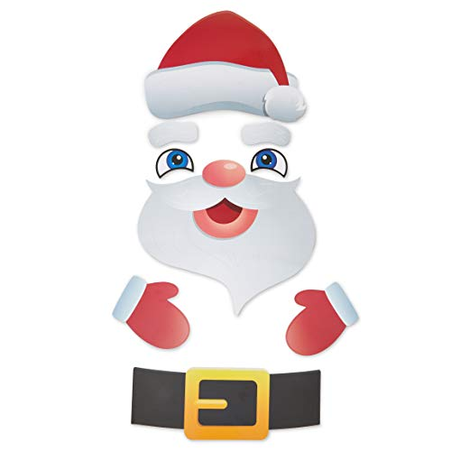 Okuna Outpost Santa Claus Christmas Refrigerator Magnets for Kids, Holiday Decor (9 Pieces)