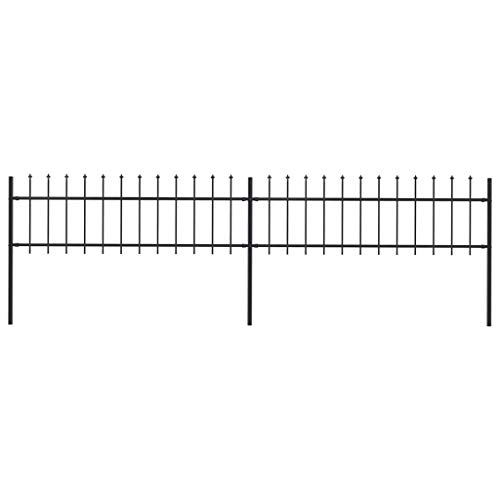 Unfade Memory Garden Metal Fence Fencing Panel Animal Barrier Edge with Spear Top, Steel Border Fences for Patio Landscape (133.9'x23.6')