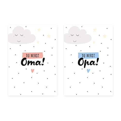 Him & I® - Du wirst Oma, Du wirst Opa Postkarten Set - Schwangerschaftskarten zur Baby Ankündigung - Maße: 16,5 cm x 11,5 cm